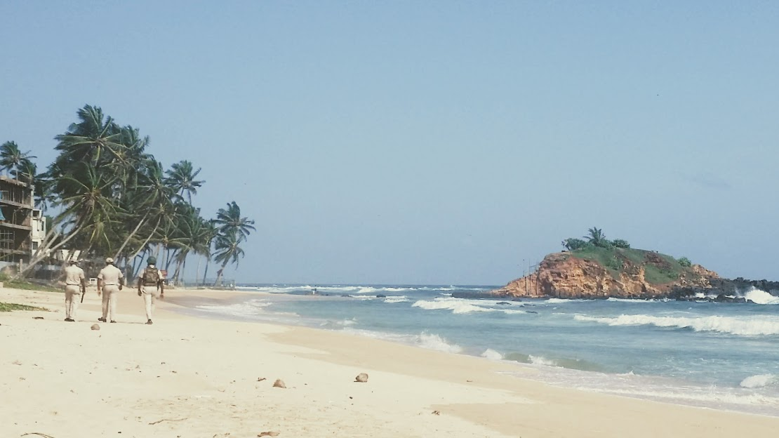 Military patrols operating on Mirissa Beach